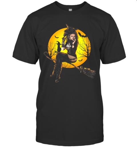 Scary Sexy Witch with Black Cat Halloween Mythology Dark Art T-Shirt