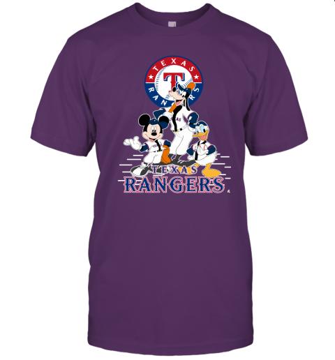 k05x texas rangers mickey donald and goofy baseball jersey t shirt 60 front team purple