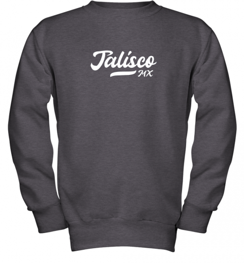 wckj tighe39 s jalisco mx mexico baseball jersey style youth sweatshirt 47 front dark heather