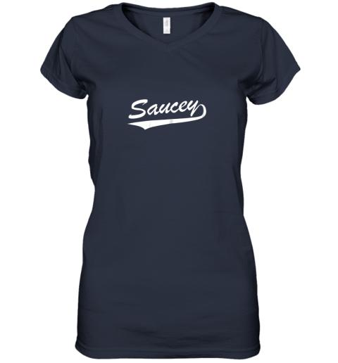 sgok saucey swag baseball women v neck t shirt 39 front navy