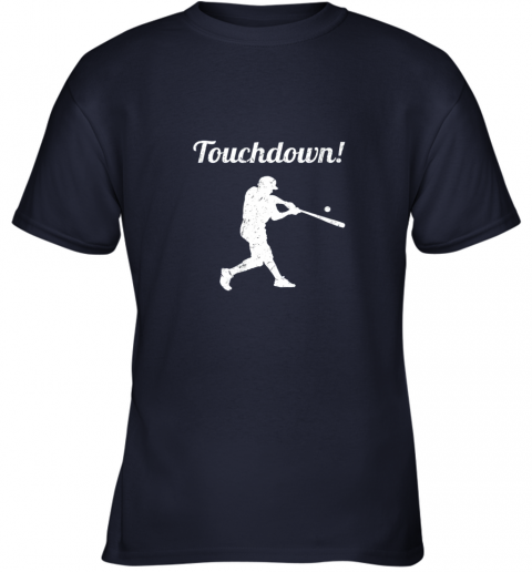 qjay touchdown funny baseball youth t shirt 26 front navy