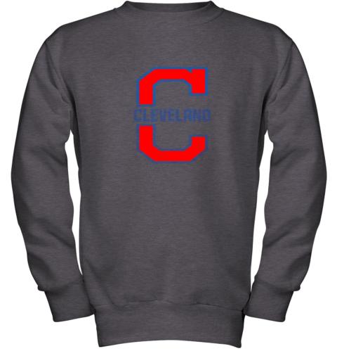 dsjo cleveland hometown indian tribe vintage youth sweatshirt 47 front dark heather