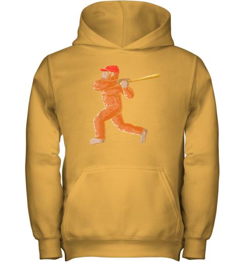 7yi6 bigfoot baseball sasquatch playing baseball player youth hoodie 43 front gold