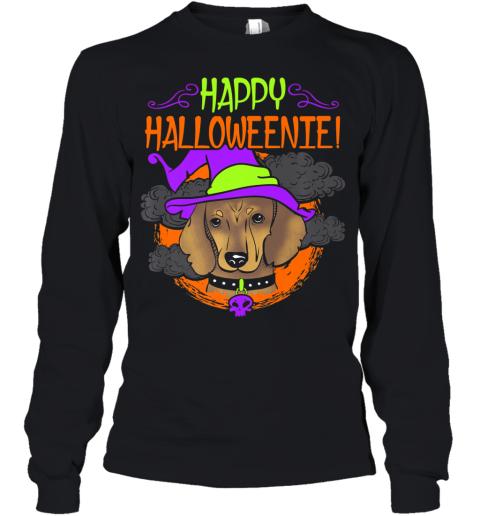 Dachshund Dog Halloween Shirt Witch Halloweenie Wiener Dog Premium Youth Long Sleeve