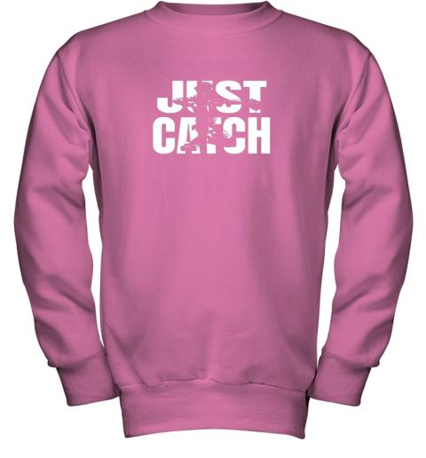 x02p just catch baseball catchers long sleeve shirt baseballisms youth sweatshirt 47 front safety pink