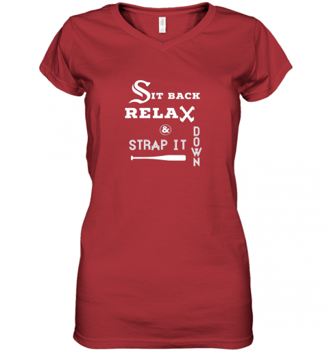 juou sit back relax strap it down chicago baseball hawk women v neck t shirt 39 front red