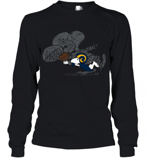 Los Angeles Rams Snoopy Plays The Football Game Youth Long Sleeve