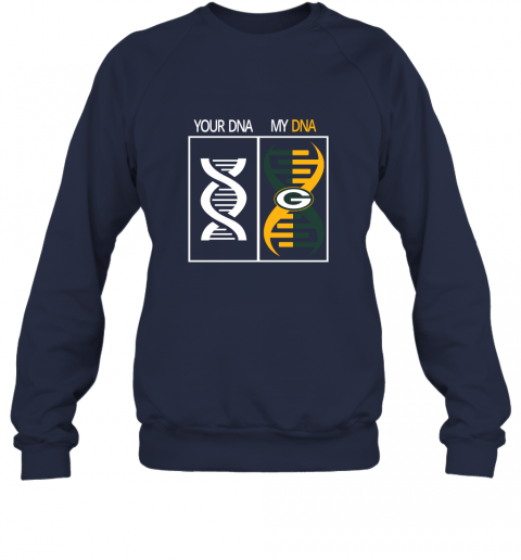 7l98 my dna is the green bay packers football nfl sweatshirt 35 front navy