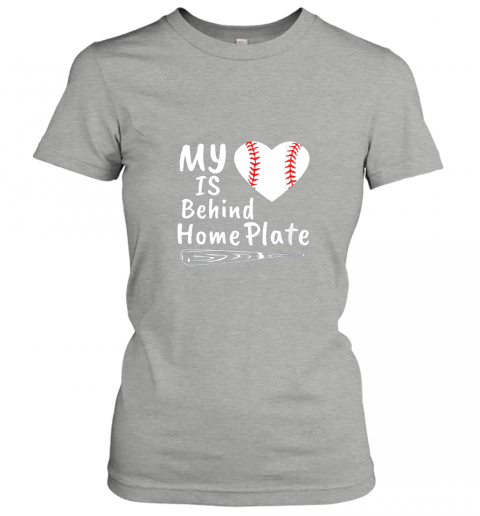 qjrr womens my heart is behind home plate baseball bat mom dad gift ladies t shirt 20 front ash
