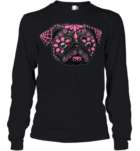 Black Pug Dogs Day of the Dead Sugar Skull Dog Halloween Youth Long Sleeve
