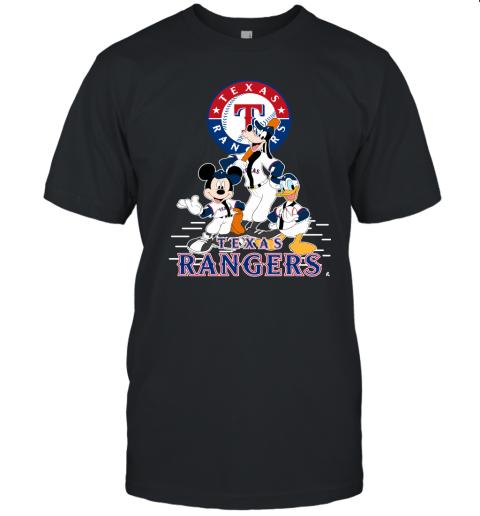 k05x texas rangers mickey donald and goofy baseball jersey t shirt 60 front black