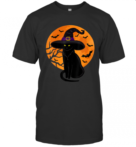 Vintage Scary Halloween Black Cat Costume Witch Hat Moon T-Shirt