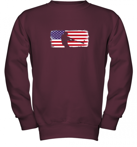 txxv usa american flag baseball player perfect gift youth sweatshirt 47 front maroon