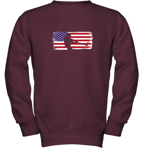 txxv usa american flag baseball player perfect gift youth sweatshirt 47 front maroon