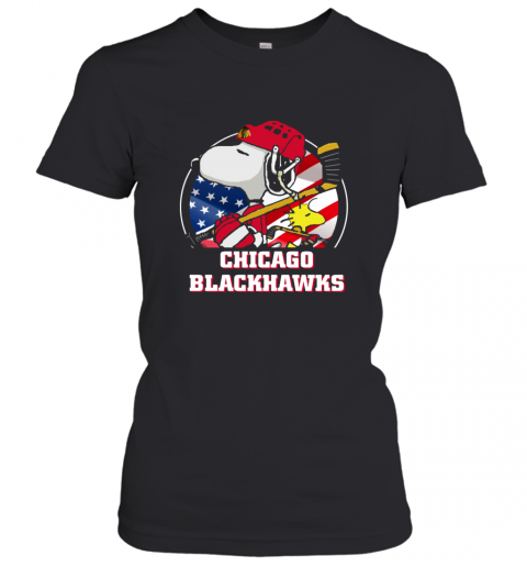 Chicago Blackhawks Ice Hockey Snoopy And Woodstock NHL Women's T-Shirt