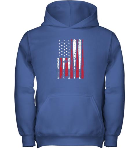 ykpl vintage baseball bat american usa flag gift youth hoodie 43 front royal