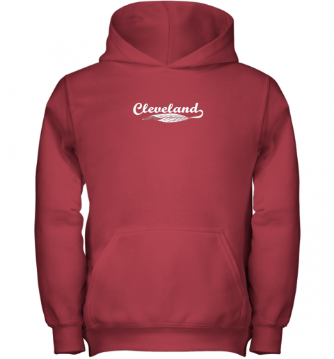 oxn1 cleveland shirt native american feather baseball youth hoodie 43 front red