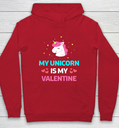 Funny Valentines Day Shirt Unicorn Is My Valentine Hoodie 7