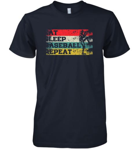 iyl8 vintage retro eat sleep baseball repeat funny sport player premium guys tee 5 front midnight navy