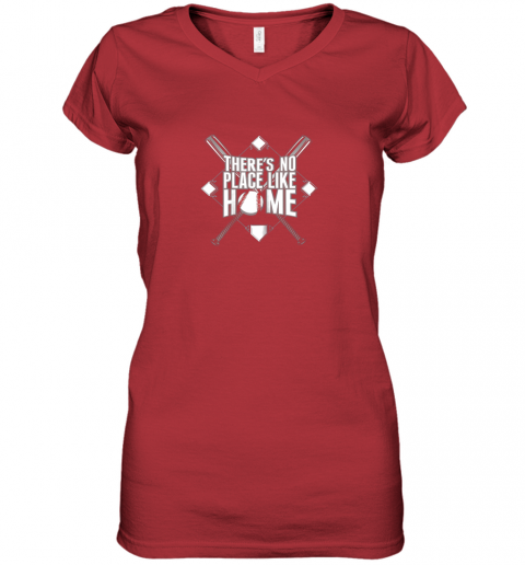 mjtu there39 s no place like home baseball tshirt mom dad youth women v neck t shirt 39 front red