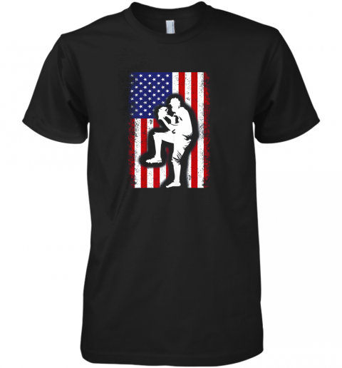 Vintage USA American Flag Baseball Player Team Gift Premium Men's T-Shirt