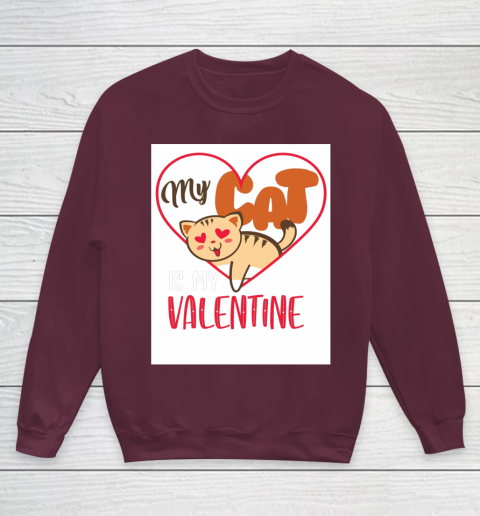 Cute My Cat Is My Valentine Cat Lover Valentines Day Gift Youth Sweatshirt 4