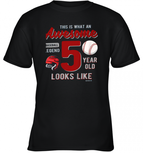Kids 5th Birthday Gift Awesome 5 Year Old Baseball Legend Youth T-Shirt