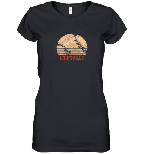 Vintage Baseball Louisville Shirt Cool Softball Gift Women's V-Neck T-Shirt