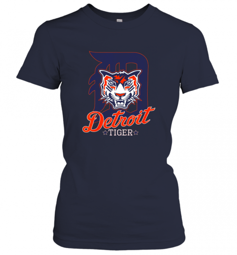 dxrh tiger mascot distressed detroit baseball t shirt new ladies t shirt 20 front navy