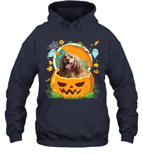 Happy Halloween Pumpkin Spaniel Cocker Dog Witch Cute Hat Hoodie