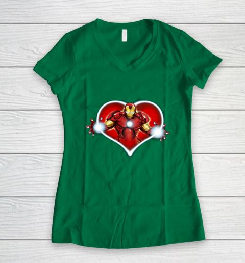 Marvel Iron Man Heart Blaster Glow Valentine Graphic Women's V-Neck T-Shirt 3