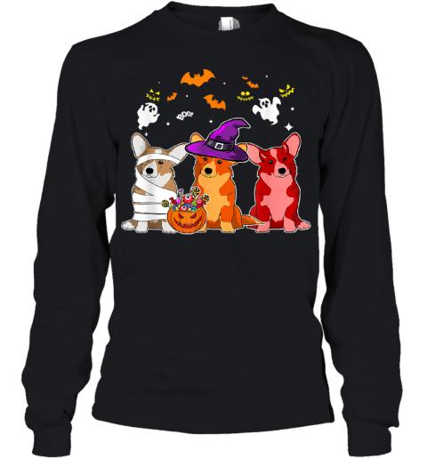 Three Corgi Dogs Halloween Shirt Dog Halloween Gift Youth Long Sleeve