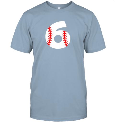 xrvz sixth birthday 6th baseball shirtnumber 6 born in 2013 jersey t shirt 60 front light blue
