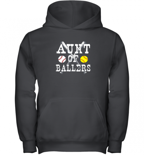 Vintage Aunt of Ballers Shirt Funny Baseball Softball Love Youth Hoodie