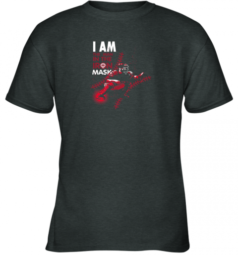 kxct i am the man in the iron mask baseball catcher youth t shirt 26 front dark heather