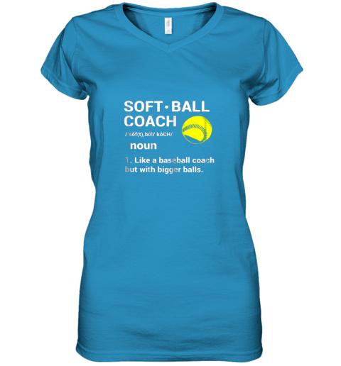 ywqb soft ball coach like baseball bigger balls softball women v neck t shirt 39 front sapphire