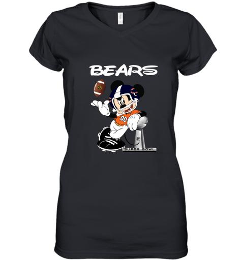 Mickey Bears Taking The Super Bowl Trophy Football Women's V-Neck T-Shirt