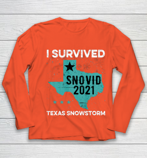 I Survived Snovid 2021 Texas Snowstorm Texas Strong Youth Long Sleeve 3