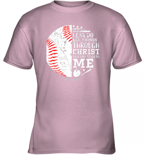 mjdn christian baseball shirts i can do all things through christ youth t shirt 26 front light pink