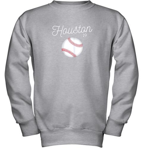 ykv4 houston baseball shirt astro number 19 and giant ball youth sweatshirt 47 front sport grey