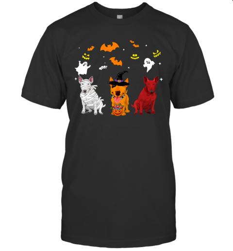 Halloween Bull Terrier Dogs Lovers Mummy Witch Demon T-Shirt