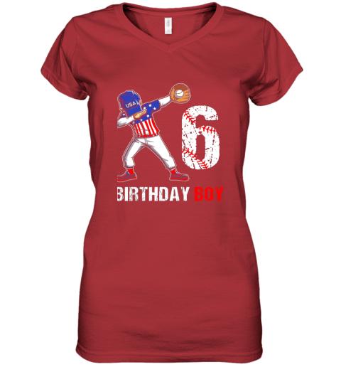zp8o kids 6 years old 6th birthday baseball dabbing shirt gift party women v neck t shirt 39 front red