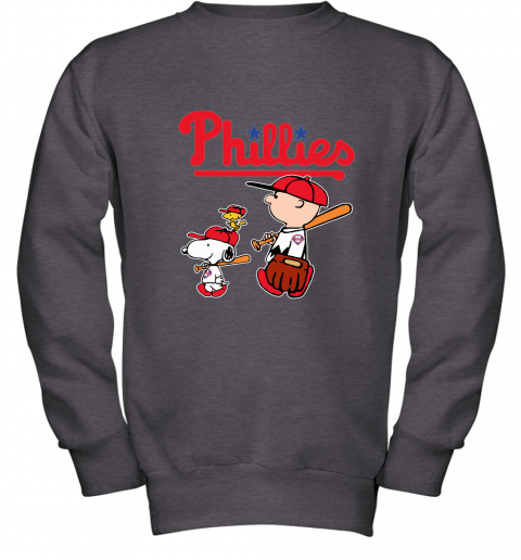 nses philadelphia phillies lets play baseball together snoopy mlb shirt youth sweatshirt 47 front dark heather