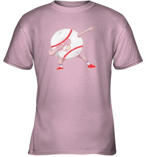bp5q kids funny dabbing baseball player youth shirt cool gift boy youth t shirt 26 front light pink