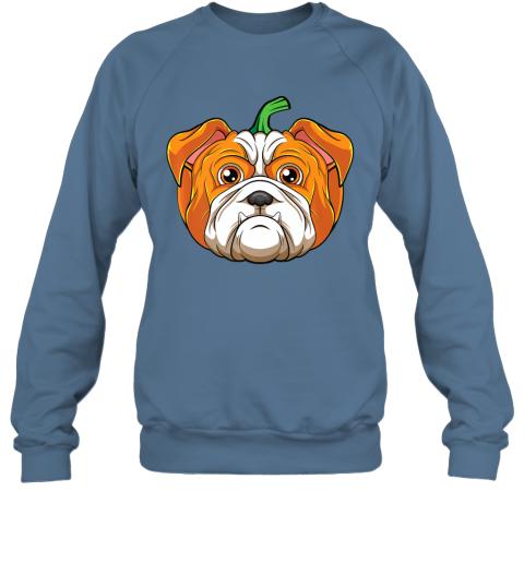 Bulldog Dog Pumpkin Funny Halloween Thanksgiving Gift Kids Premium Sweatshirt