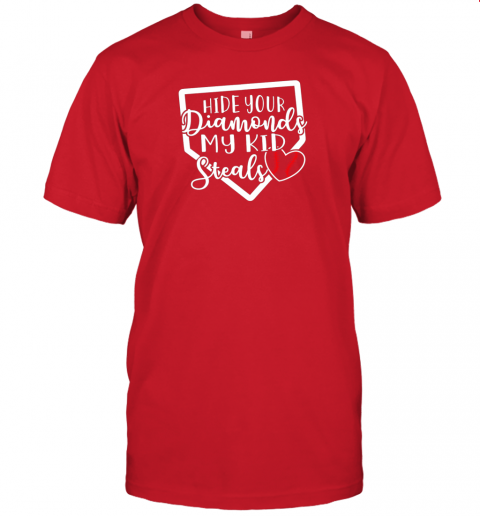 3woe hide your diamonds my kid steals baseball softball funny jersey t shirt 60 front red