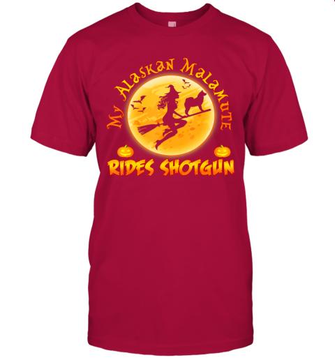 My Alaskan Malamute Rides Shotgun Halloween Costume Dog T-Shirt