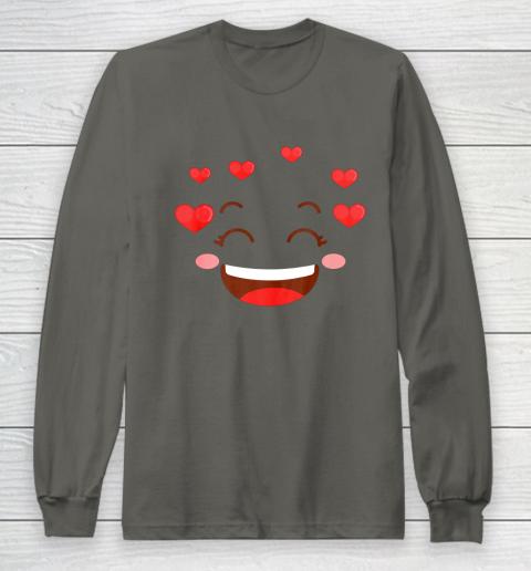 Kids Girls Valentine T Shirt Many Hearts Emoji Design Long Sleeve T-Shirt 5
