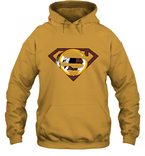 67kt we are undefeatable the washington redskins x superman nfl hoodie 23 front gold