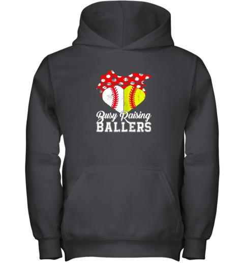 Busy Raising Ballers Softball Baseball Youth Hoodie